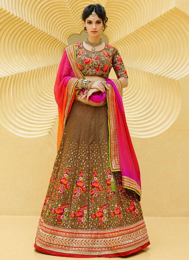 Striking Mirror Work Art Silk Wedding Lehenga Choli