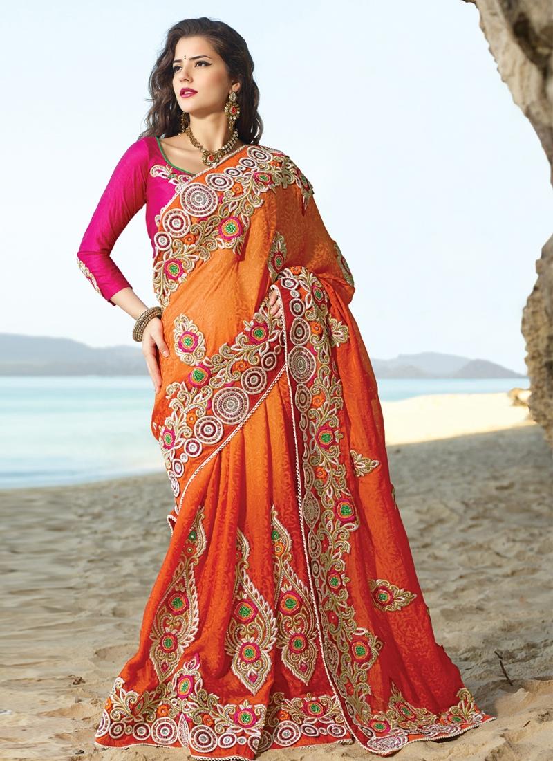 Striking Orange Color Chicken Work Bridal Saree