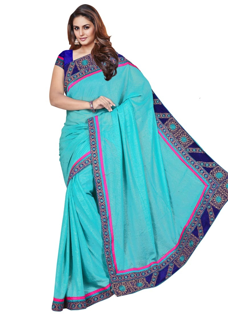 Striking Patch Border Work Party Wear Saree