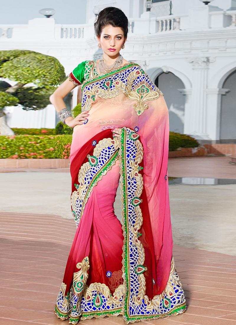 Striking Patch Enhanced Wedding Saree