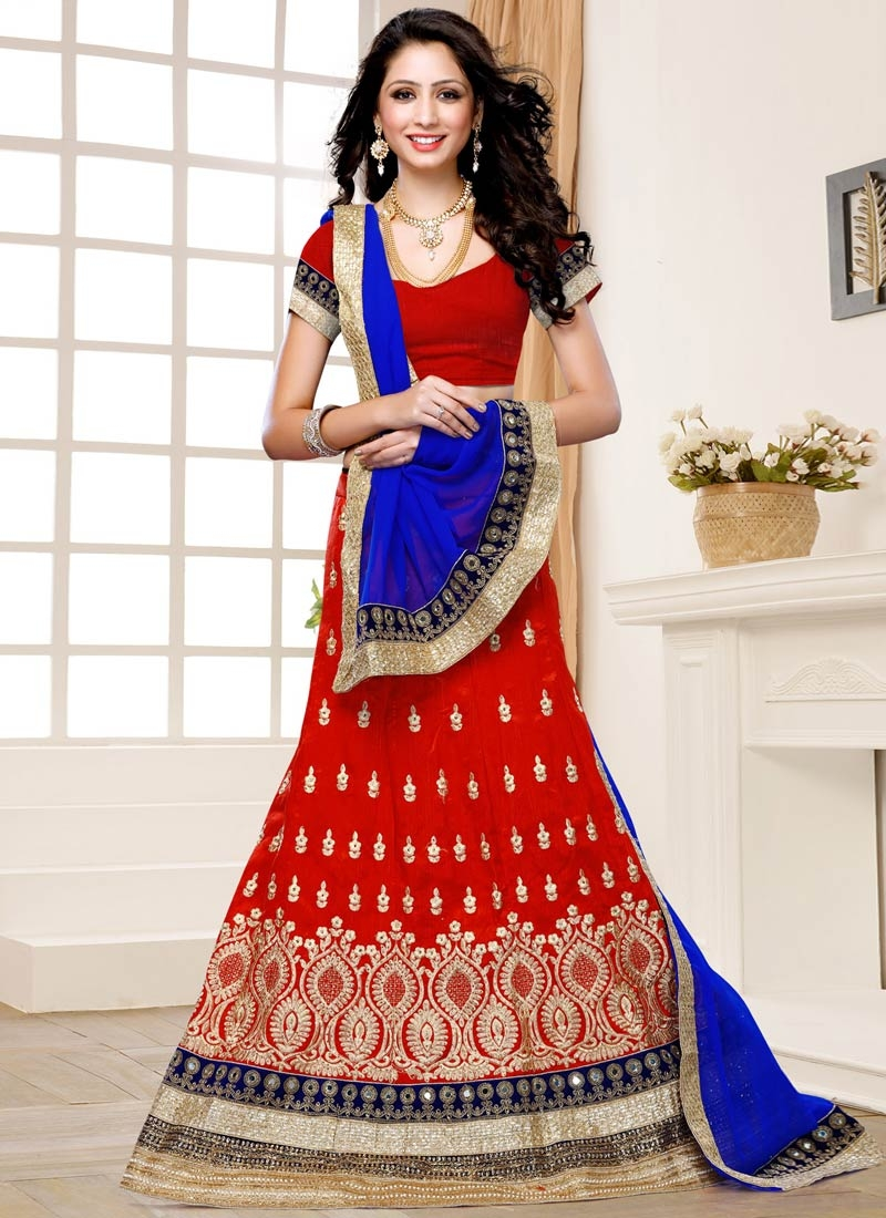 Striking Red And Blue Color Wedding Lehenga Choli