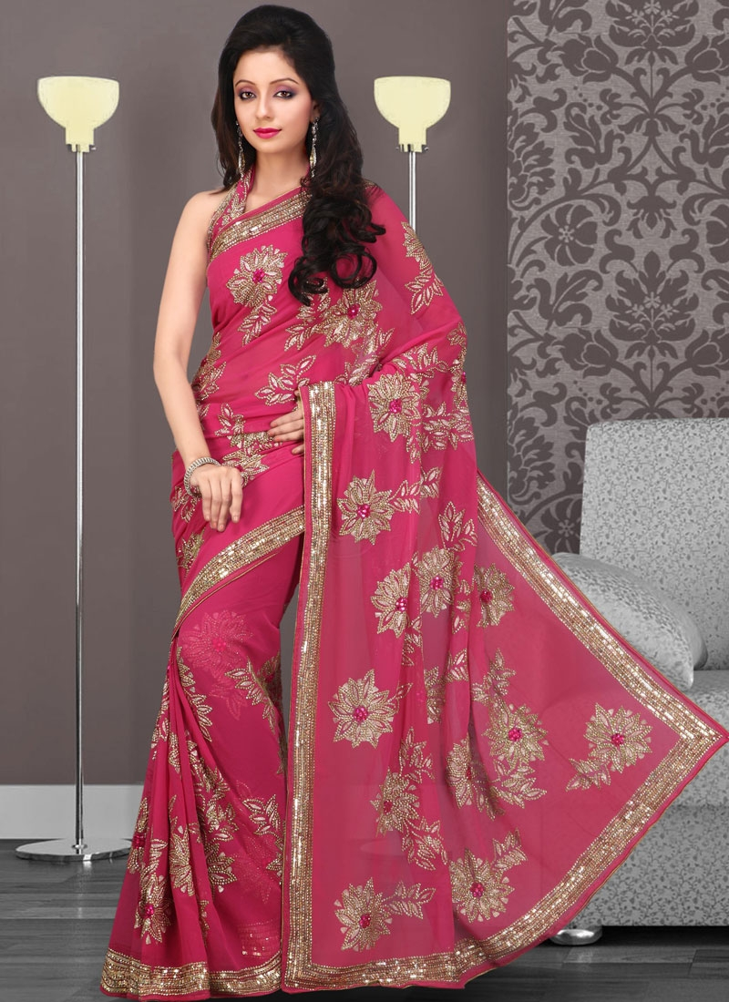 Striking Red Embroidered Faux Georgette Saree