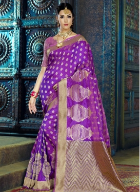 Striking Thread Work Contemporary Style Saree
