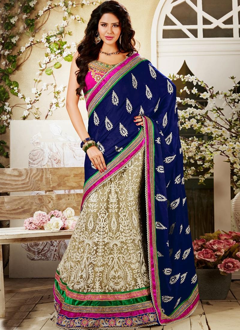 Striking Velvet Patch Work Wedding Lehenga Choli