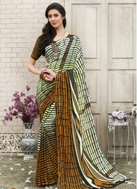 Strips Print Work Cream and Mustard Trendy Saree