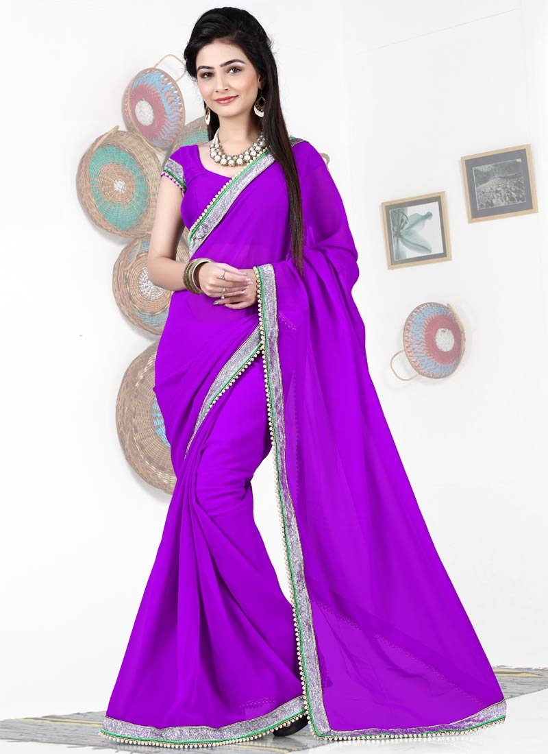 Stunning Beads And Lace Work Casual Saree