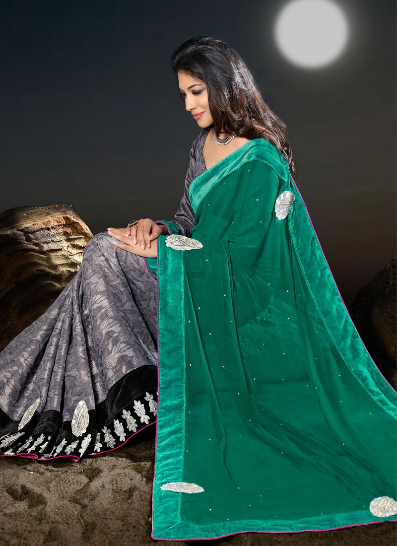 Stunning Chicken And Multi Work Half N Half Saree