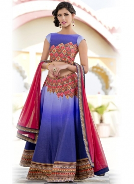 Stunning Digital Print Work Silk Blue and Rose Pink Trendy A Line Lehenga Choli