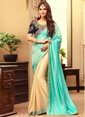 Stunning Embroidered Work Satin Silk Half N Half Saree