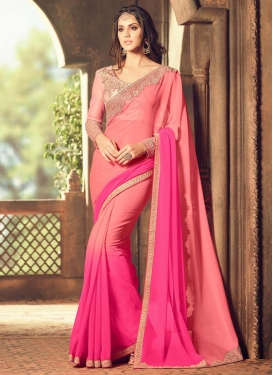 Stunning Faux Georgette Rose Pink and Salmon Designer Contemporary Saree