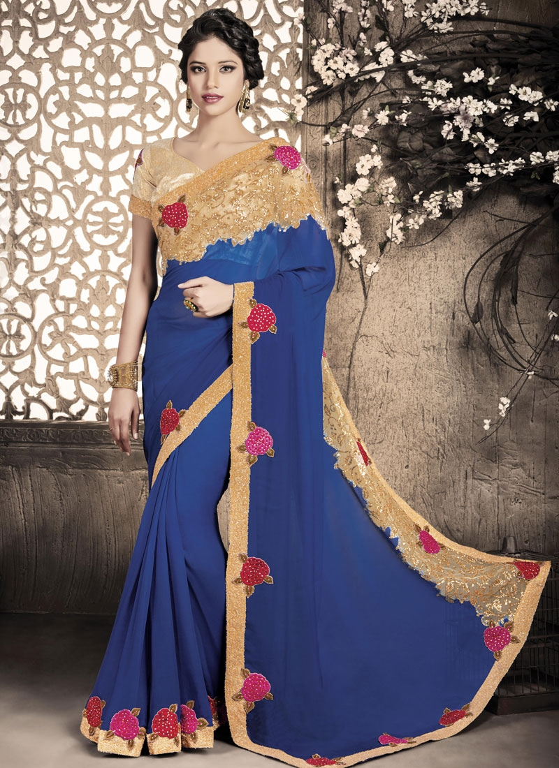 Stunning Faux Georgette Stone Work Party Wear Saree