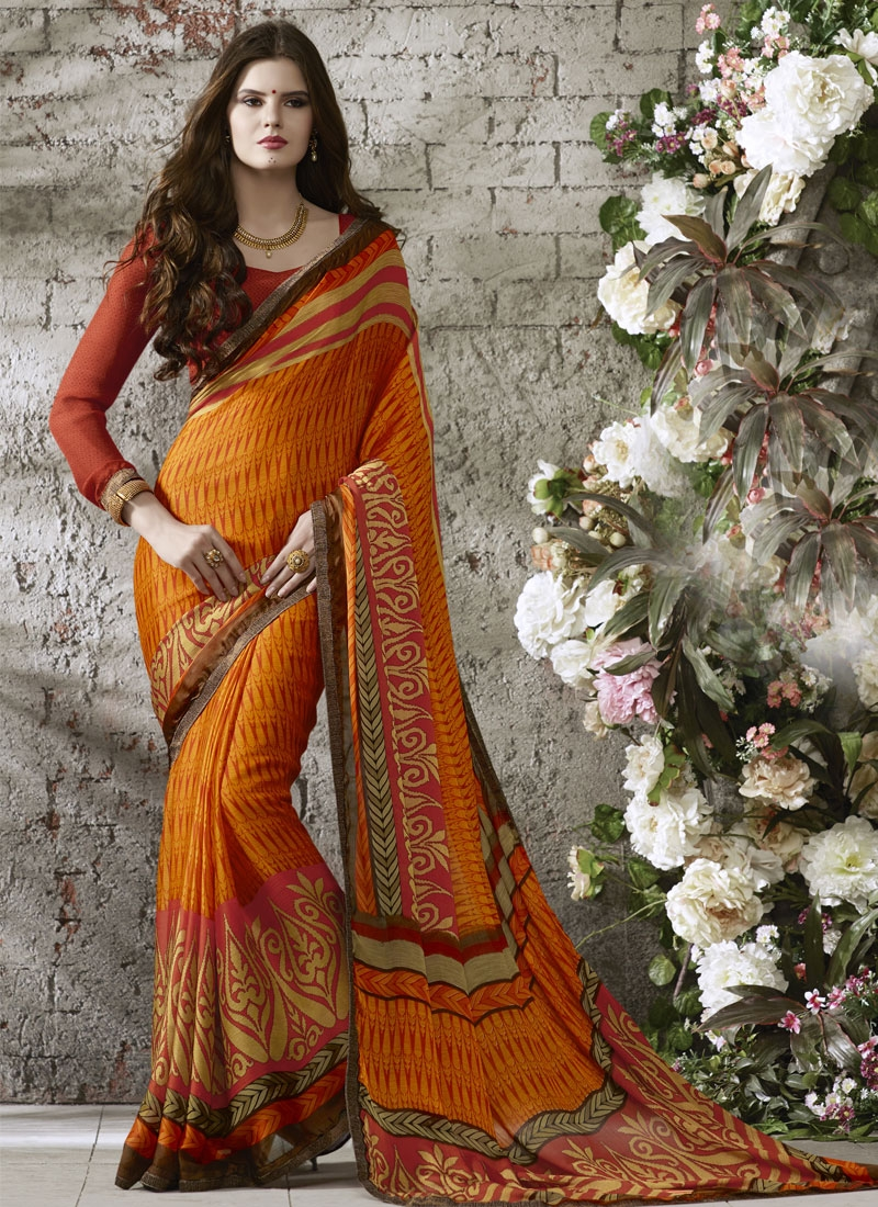 Stunning Lace Work Orange Color Casual Saree