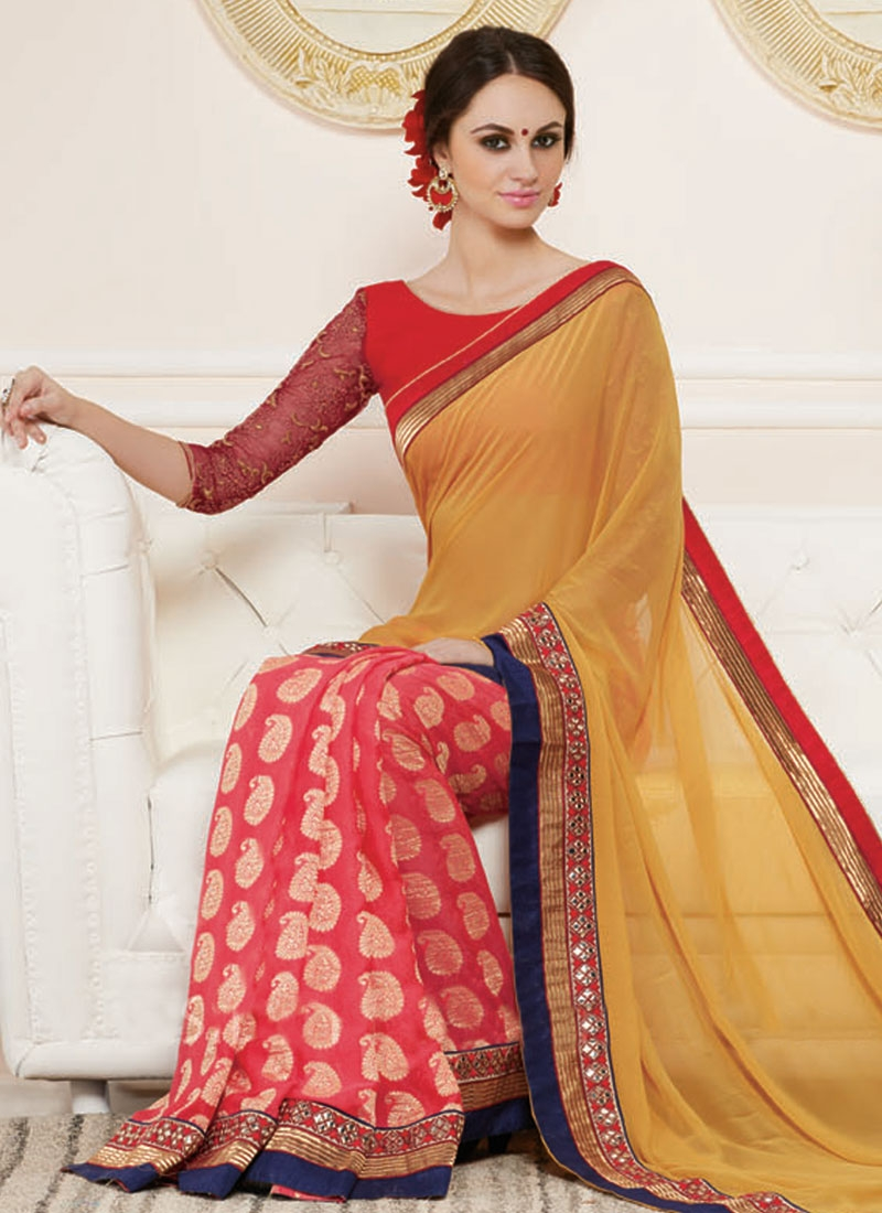 Stunning Mirror Work Half N Half Party Wear Saree