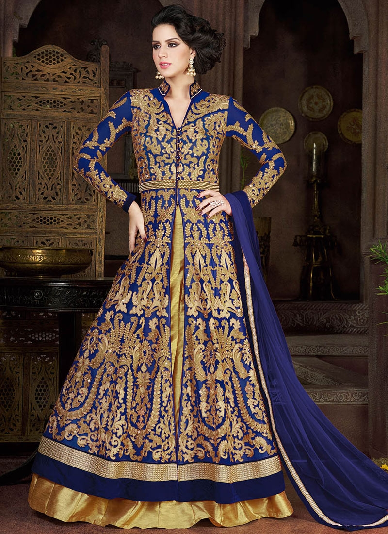 Stunning Navy Blue Color Kameez Style Wedding Lehenga Choli