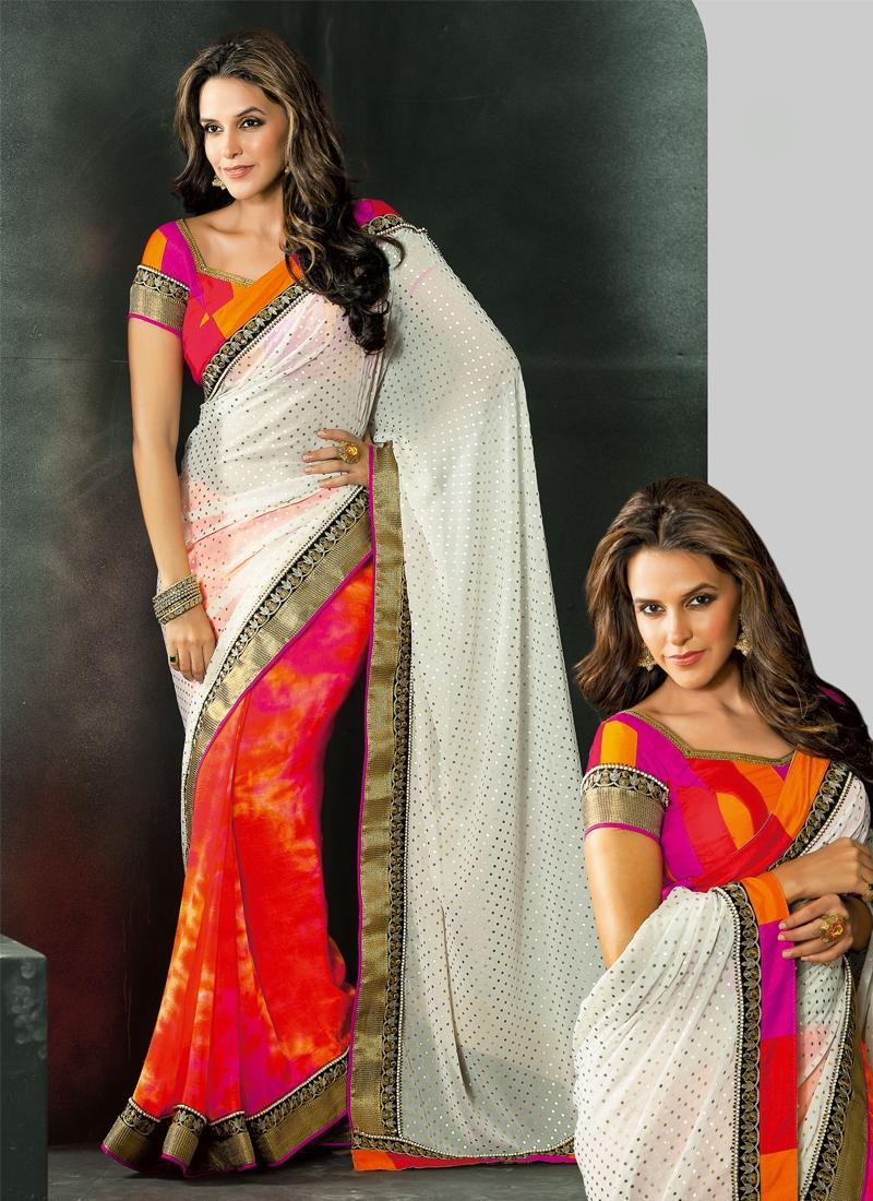 Stunning Neha Dhupia Georgette Half N Half Saree