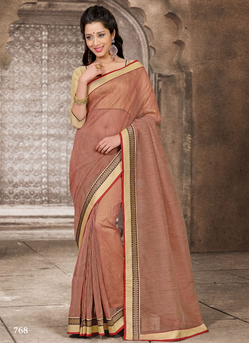 Stunning Resham And Lace Enhanced Casual Saree
