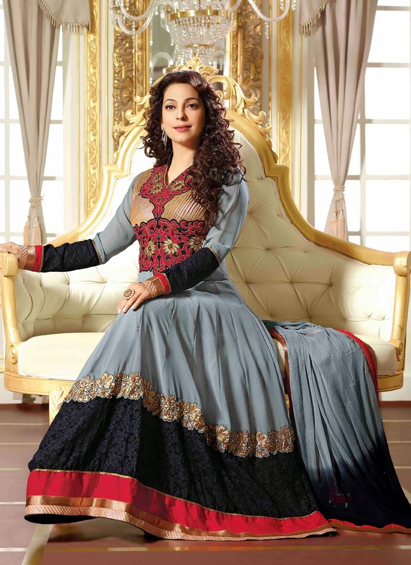 Stunning Resham Work Juhi Chawla Bollywood Suit