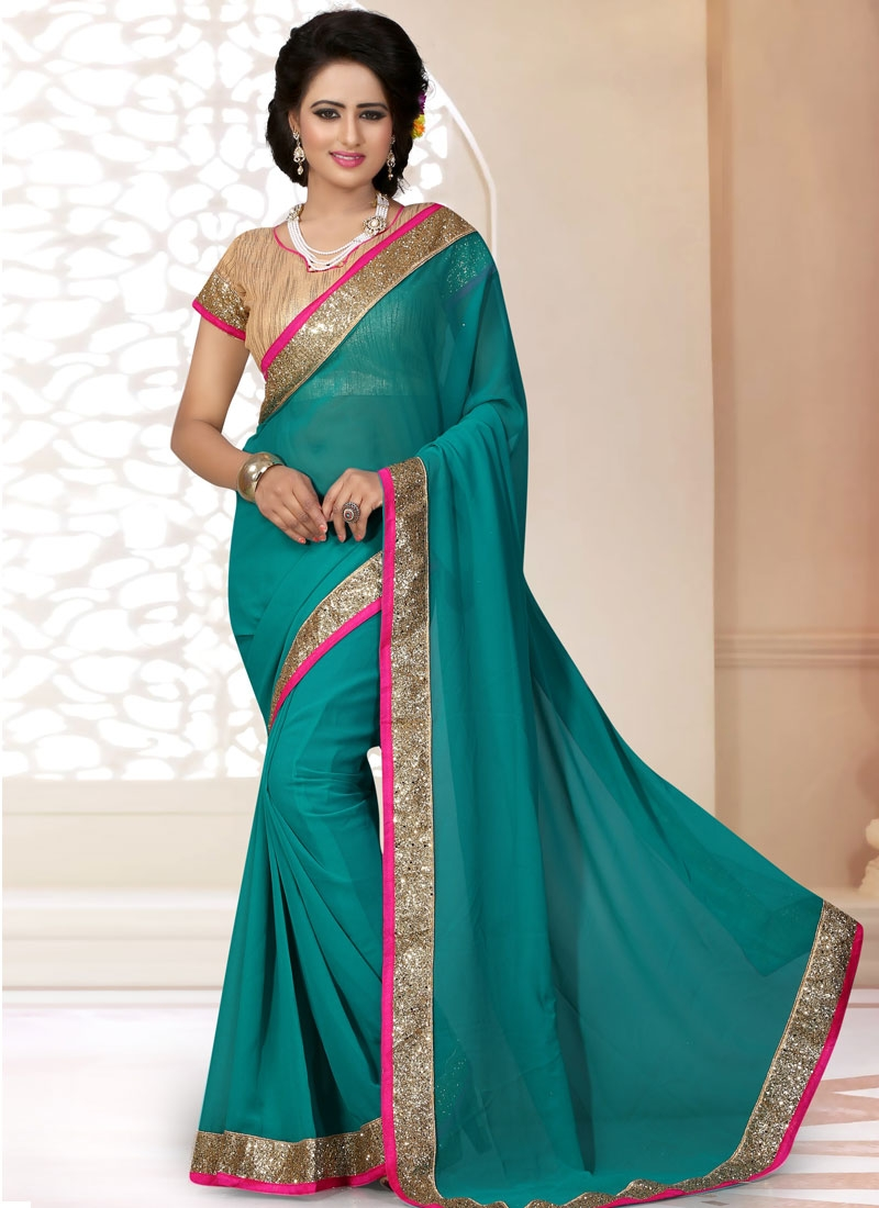Stunning Teal Color Casual Saree