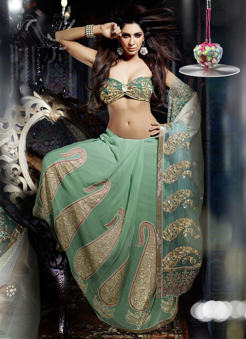 Stunning Teal Color Lehenga Saree