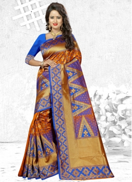 Stunning Thread Work Contemporary Saree For Ceremonial