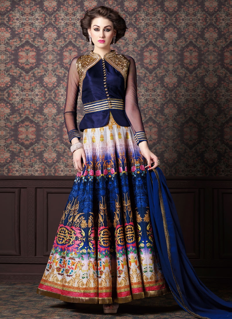 Stupendous Art Silk Jacket Style Designer Salwar Kameez