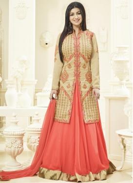 Stupendous Ayesha Takia Cream and Salmon Banglori Silk Designer Kameez Style Lehenga Choli