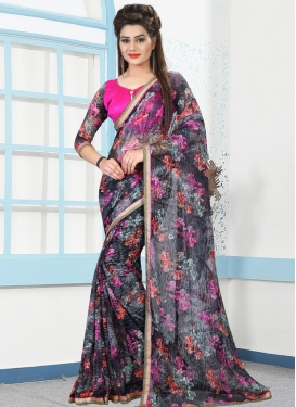 Stupendous Beads Work Net Trendy Classic Saree