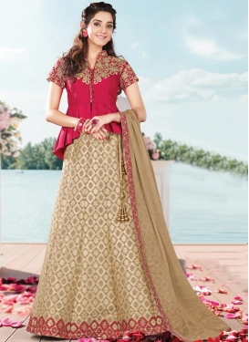 Stupendous Beige and Rose Pink Long Choli Lehenga For Ceremonial