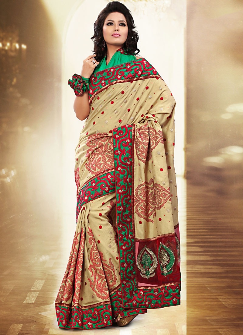 Stupendous Beige Color Designer Saree