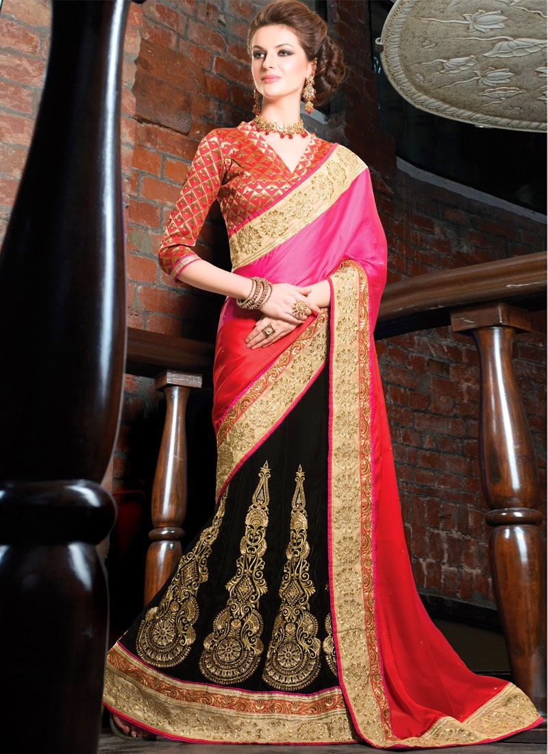 Stupendous Booti And Resham Work Lehenga Style Saree
