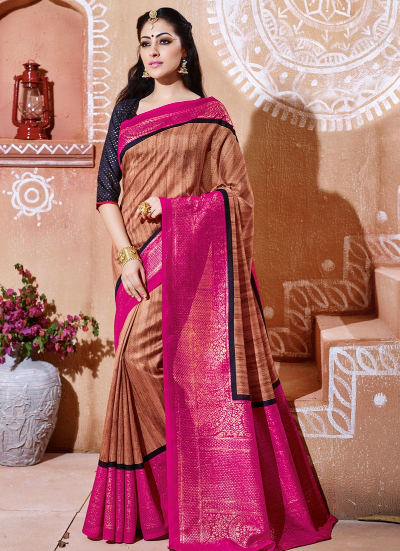 Stupendous Brown And Rose Pink Color Casual Saree