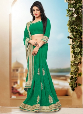 Stupendous Chicken Work Designer Saree