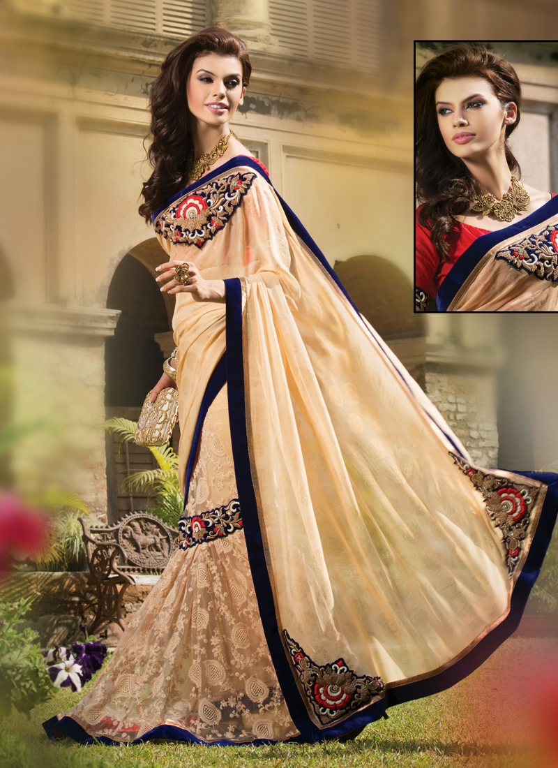 Stupendous Chicken Work Georgette Lehenga Saree