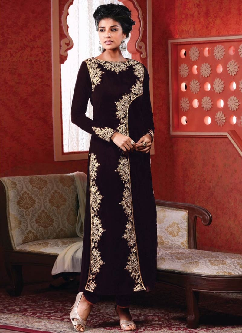 Stupendous Coffee Brown Color Velvet Designer Suit
