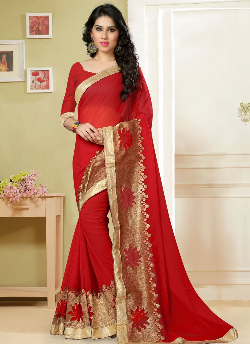 Stupendous Faux Georgette Red Color Party Wear Saree