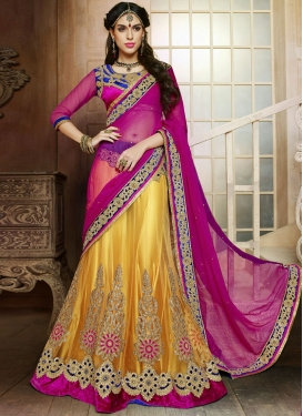 Stupendous Fuchsia And Yellow Color Wedding Lehenga Choli