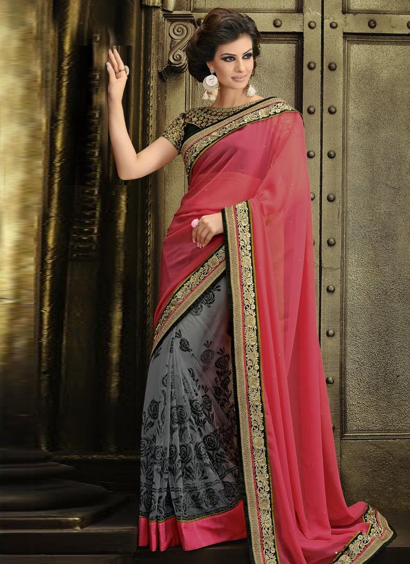 Stupendous Lace Work Half H Half Designer Saree