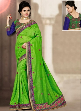 Stupendous Lace Work Silk Trendy Classic Saree For Festival
