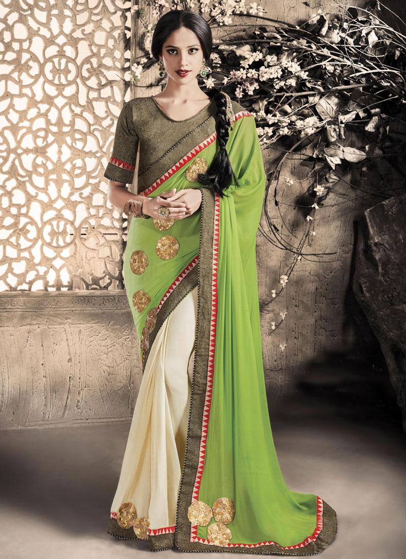 Stupendous Mint Green Color Half N Half Party Wear Saree