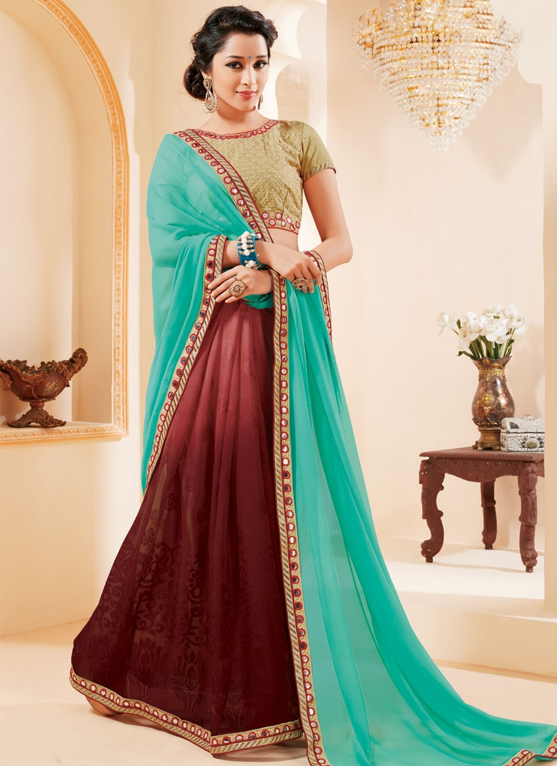 Stupendous Mirror Work Half N Half Party Wear Saree