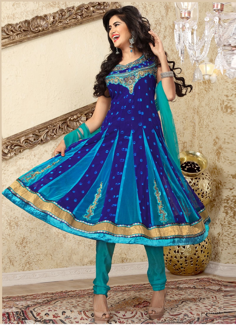 Stupendous Navy Blue And Turquoise Salwar Suit