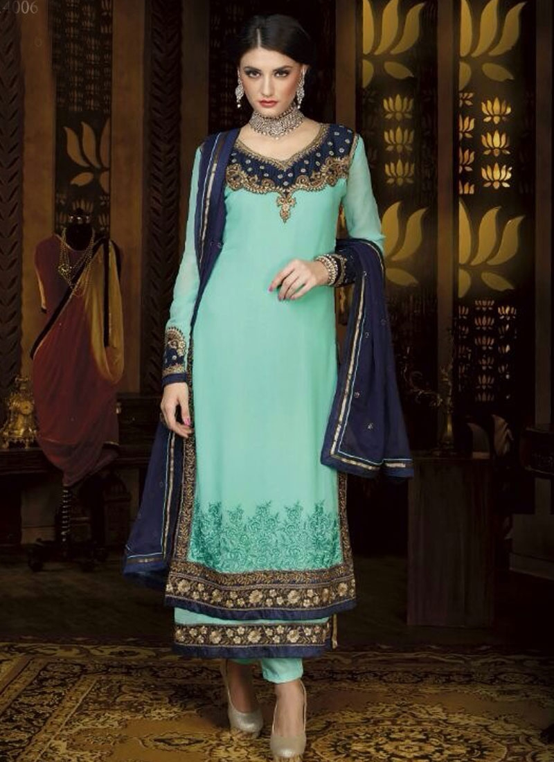 Stupendous Patch And Lace Work Double Layered Designer Suit
