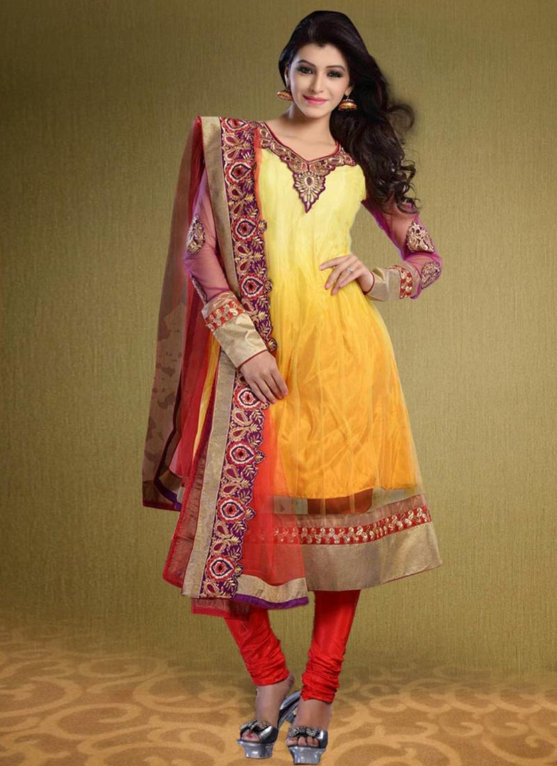 Stupendous Patch Work Net Party Wear Salwar Suit