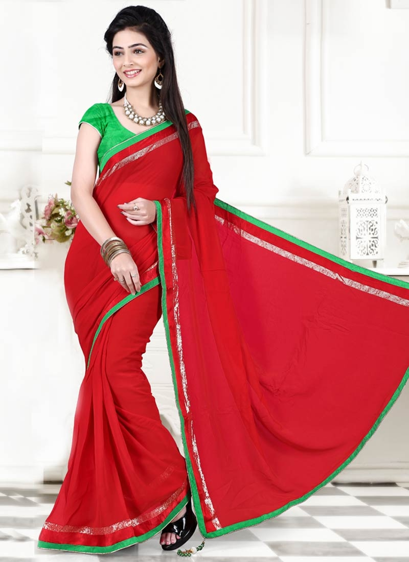 Stupendous Red Color Lace Work Casual Saree