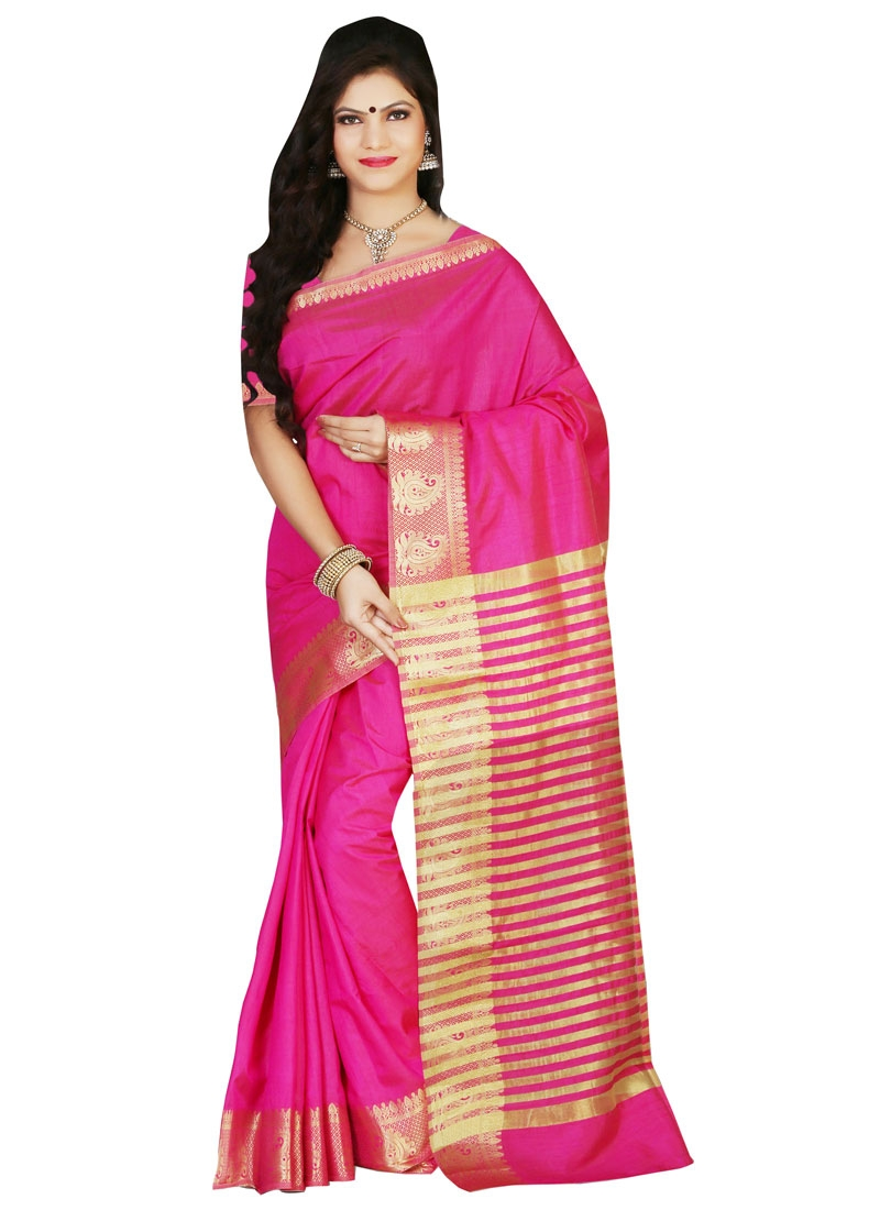 Stupendous Resham Work Rose Pink Color Casual Saree