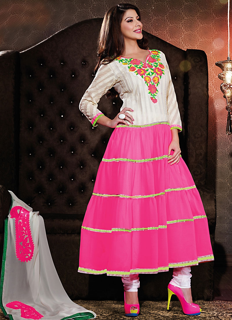 Stupendous Rose Pink And White Anarkali Suit