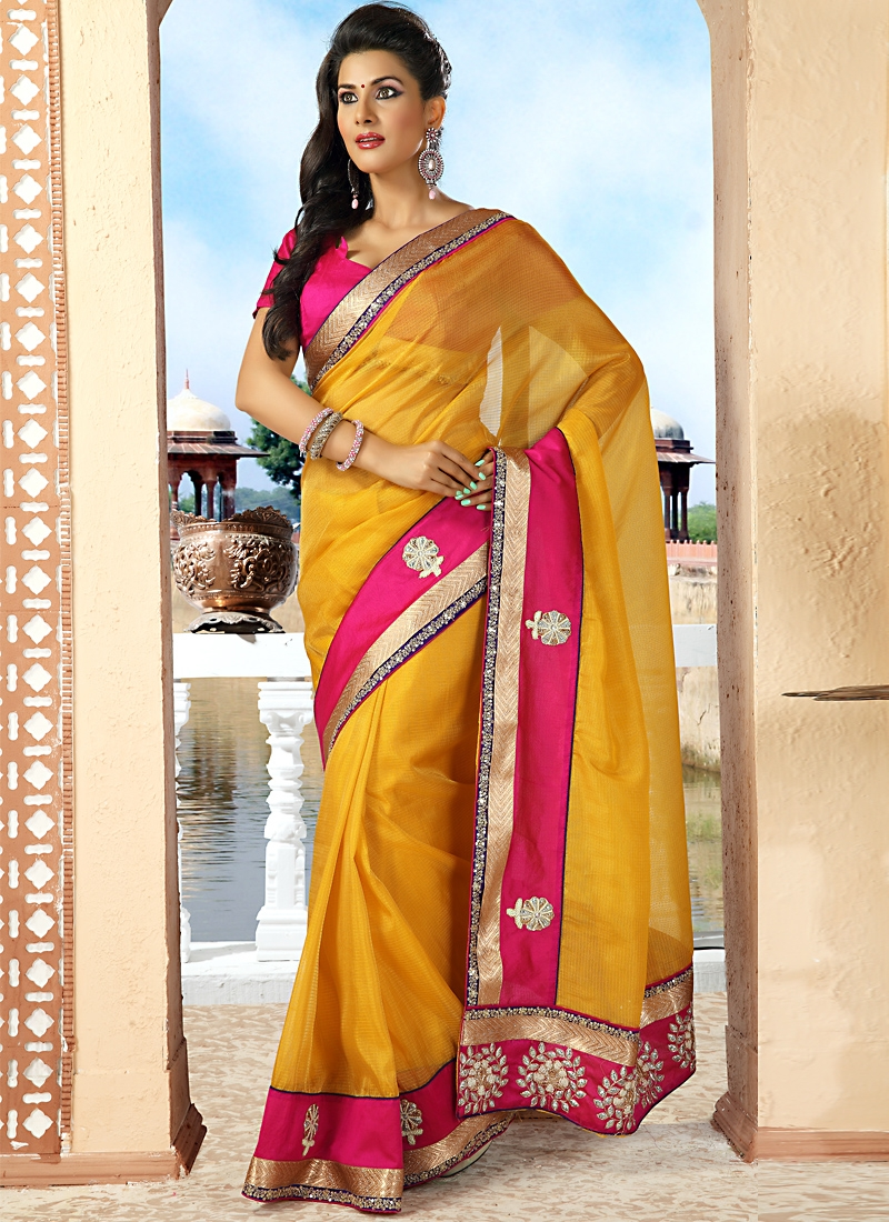 Stupendous Rose Pink And Yellow Saree
