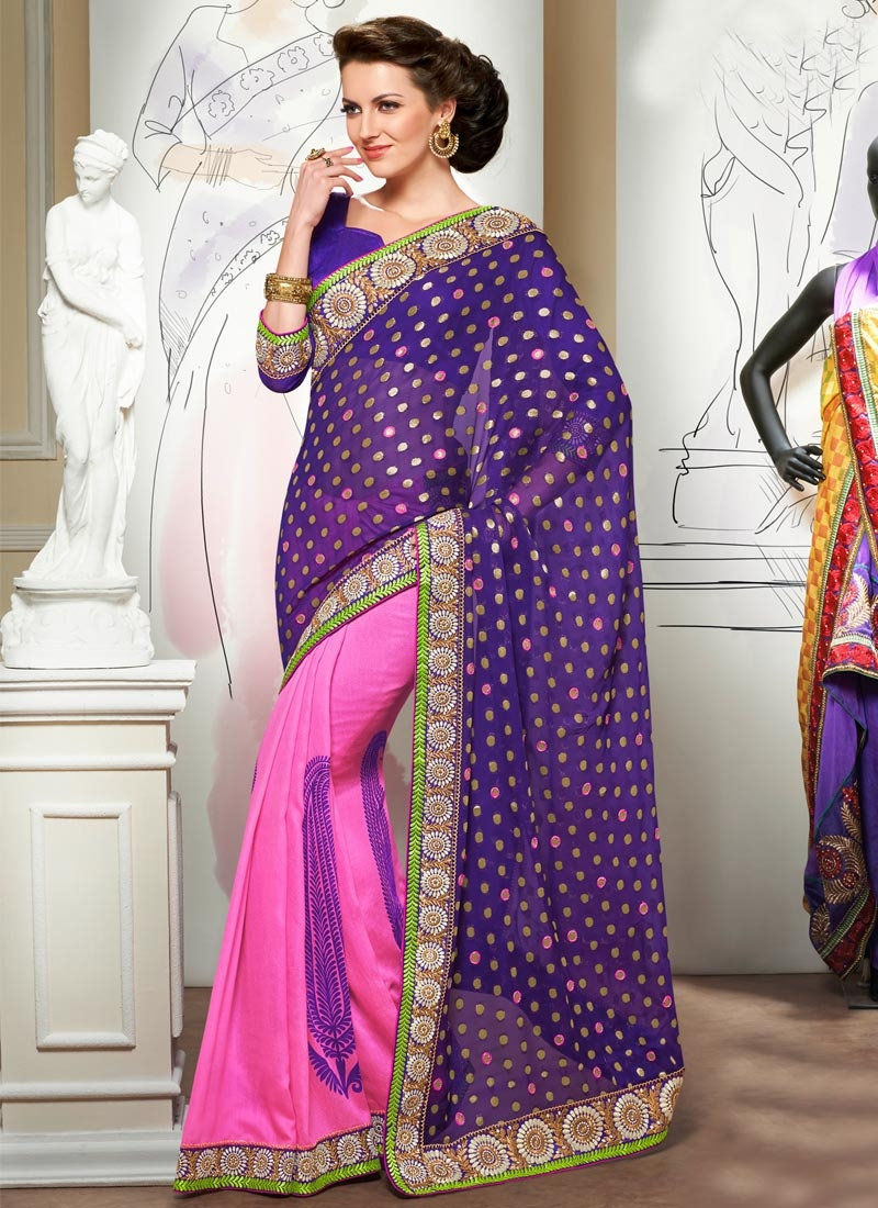 Stupendous Viscose Resham Work Half N Half Party Wear Saree