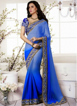 Stylish Blue Shaded Resham Work Wedding Saree