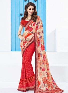 Stylish Digital Print Work Cream and Red Half N Half Trendy Saree